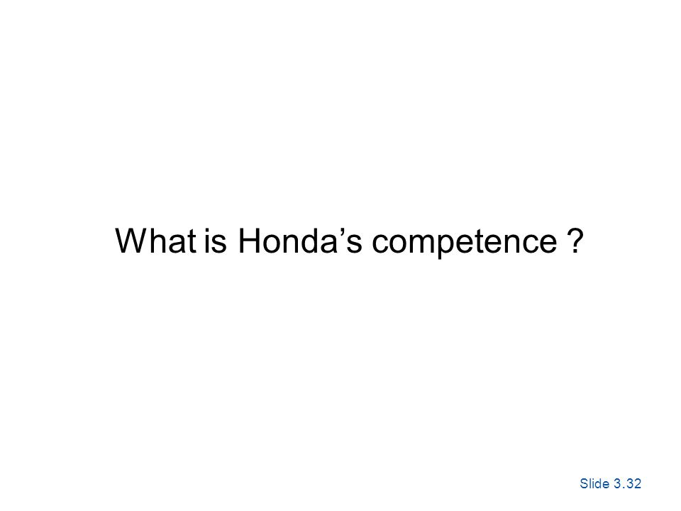 Slide 3. 32 Exploring Corporate Strategy, Seventh Edition, © Pearson Education Ltd 2005 What is Hondas competence ?
