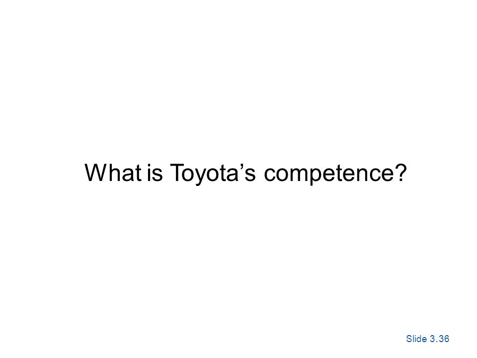Slide 3. 36 Exploring Corporate Strategy, Seventh Edition, © Pearson Education Ltd 2005 What is Toyotas competence?