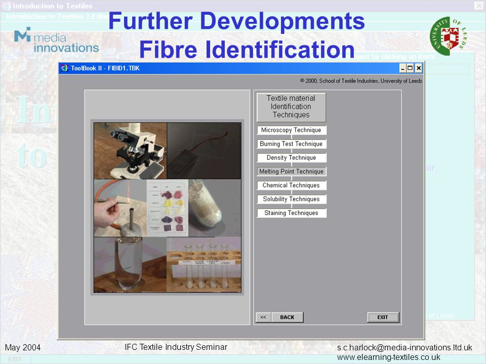 s.c.harlock@media-innovations.ltd.uk www.elearning-textiles.co.uk May 2004 IFC Textile Industry Seminar Further Developments _ Fibre Identification