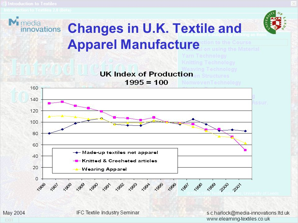 s.c.harlock@media-innovations.ltd.uk www.elearning-textiles.co.uk May 2004 IFC Textile Industry Seminar Innovative textile education and training – Hong Kong Initiatives Apparelkey.com (http://www.apparelkey.com/) is an apparel manufacturing knowledge portal site developed by the Institute of Textiles and Clothing (ITC) of The Hong Kong Polytechnic University (PolyU) in collaboration with the Chinese University of Hong Kong (CUHK)..