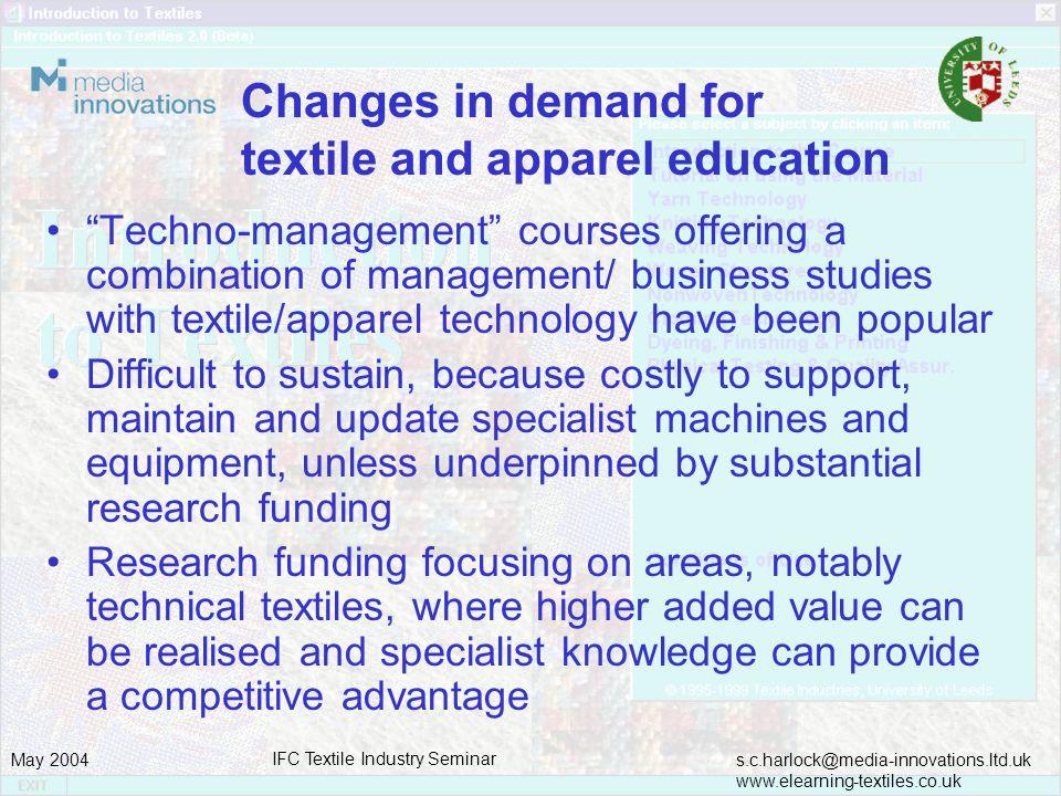 s.c.harlock@media-innovations.ltd.uk www.elearning-textiles.co.uk May 2004 IFC Textile Industry Seminar Innovative textile education and training – USA Initiatives - NCSU