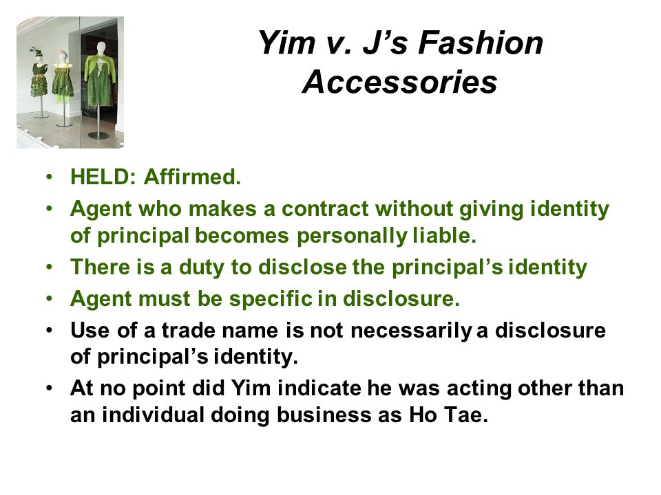 Yim v.Js Fashion Accessories, Inc. Benjamin Yim did business under trade name Ho Tae.