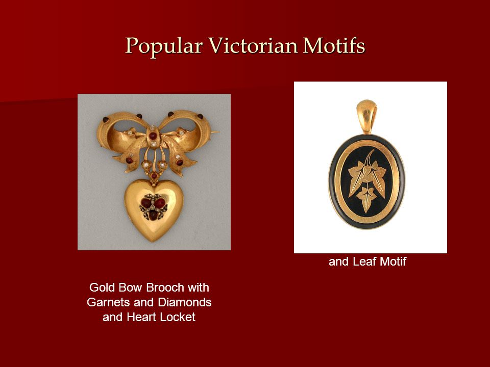 Popular Victorian Motifs Gold Bow Brooch with Garnets and Diamonds and Heart Locket Enamel Locket and Leaf Motif
