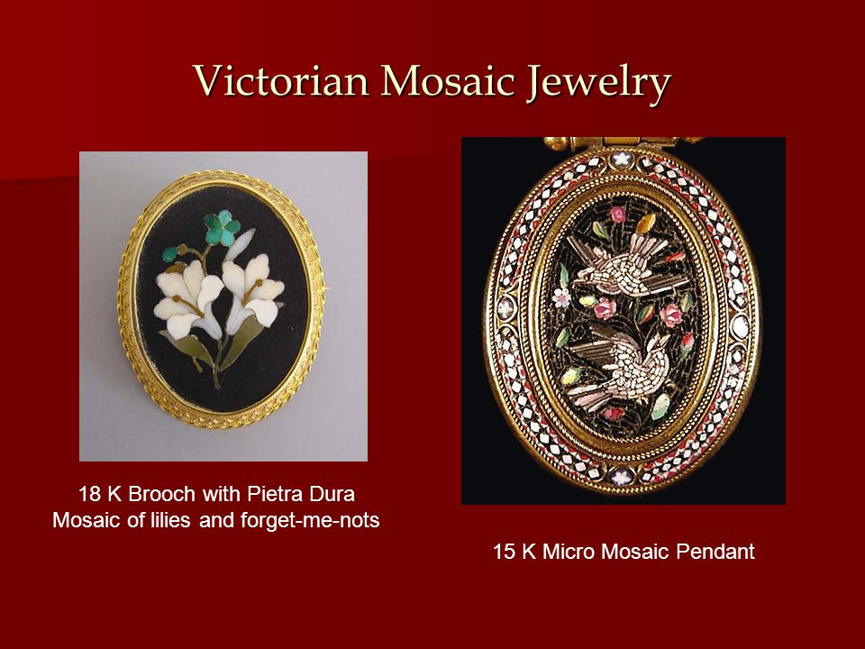 Victorian Mosaic Jewelry 15 K Micro Mosaic Pendant 18 K Brooch with Pietra Dura Mosaic of lilies and forget-me-nots