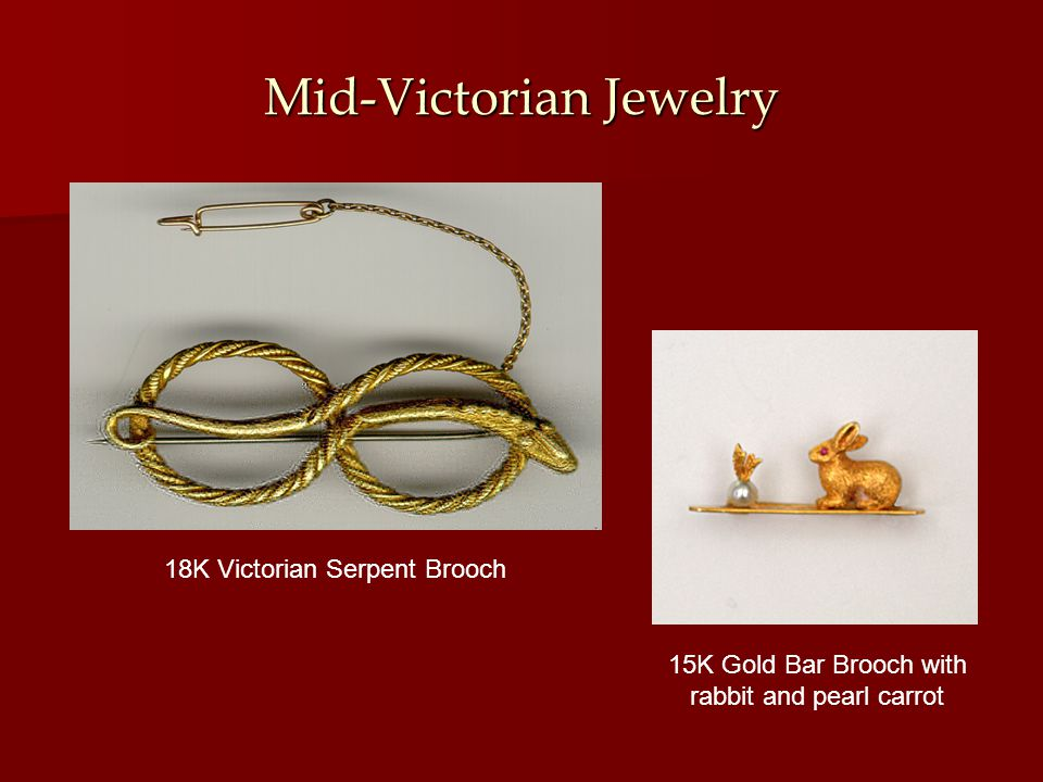 Mid-Victorian Jewelry 15K Gold Bar Brooch with rabbit and pearl carrot 18K Victorian Serpent Brooch