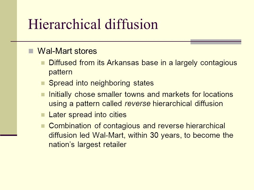 Hierarchical diffusion Wal-Mart stores Diffused from its Arkansas base in a largely contagious pattern Spread into neighboring states Initially chose