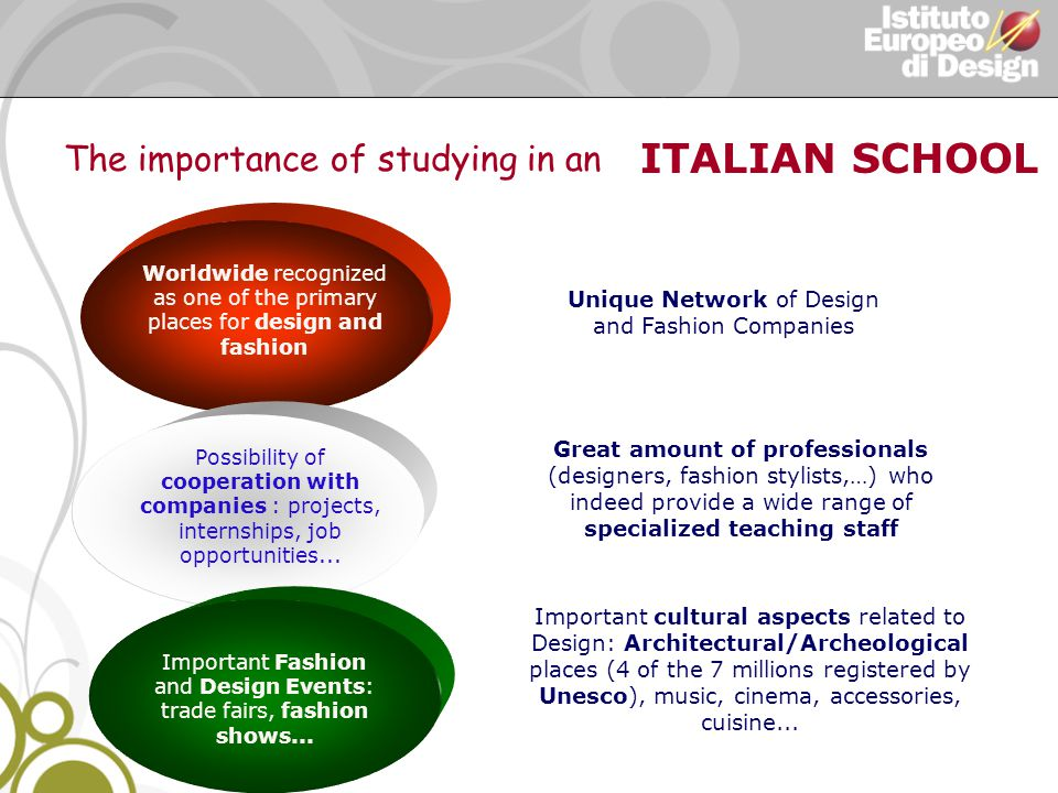 ITALIAN SCHOOL Worldwide recognized as one of the primary places for design and fashion Unique Network of Design and Fashion Companies Possibility of cooperation with companies : projects, internships, job opportunities...