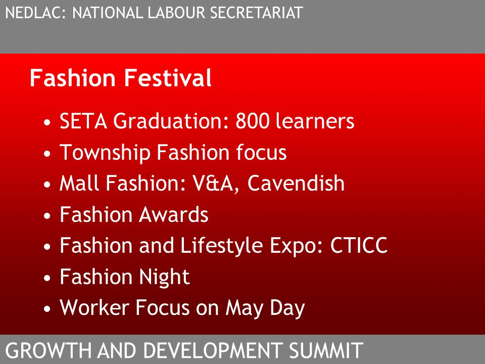 Fashion Festival SETA Graduation: 800 learners Township Fashion focus Mall Fashion: V&A, Cavendish Fashion Awards Fashion and Lifestyle Expo: CTICC Fa