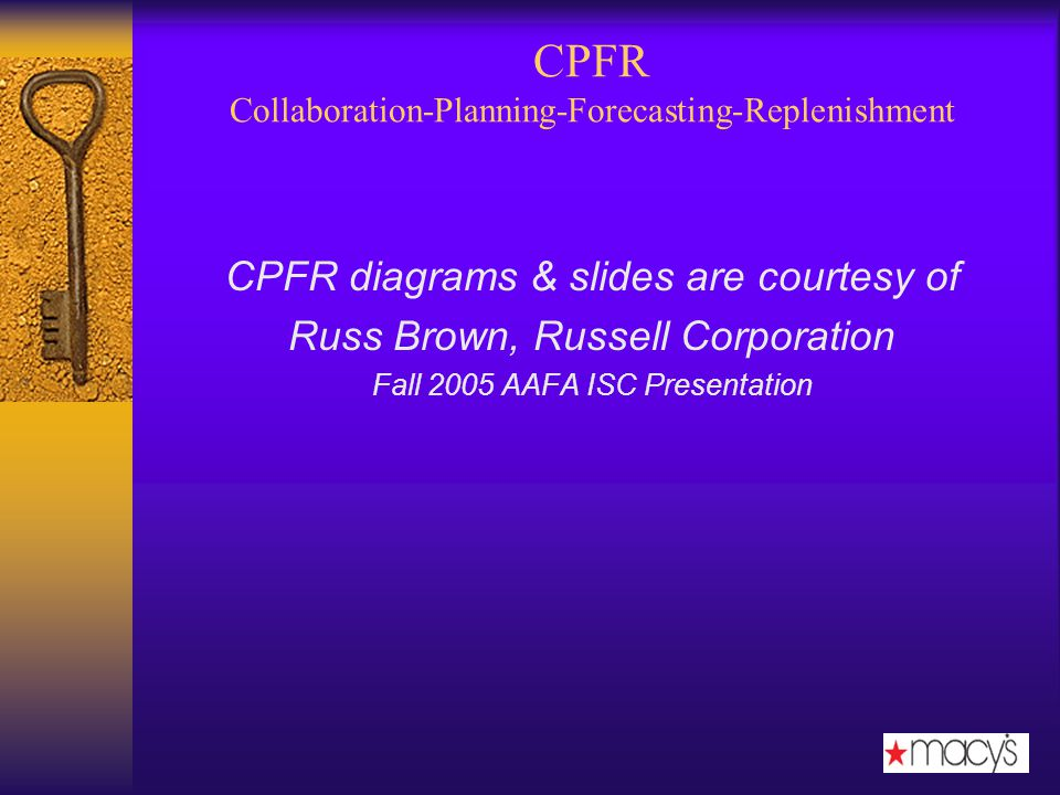 CPFR Collaboration-Planning-Forecasting-Replenishment CPFR diagrams & slides are courtesy of Russ Brown, Russell Corporation Fall 2005 AAFA ISC Presentation