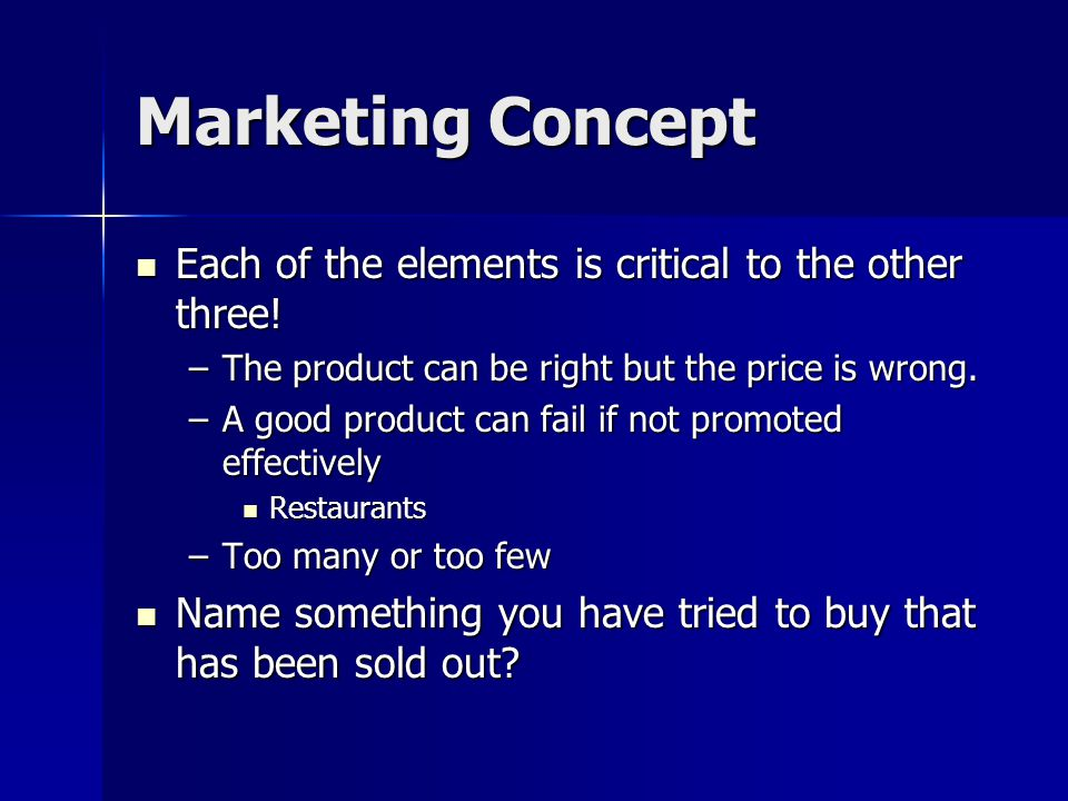 Marketing Concept Each of the elements is critical to the other three.
