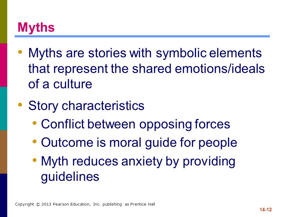 14-12 Copyright © 2013 Pearson Education, Inc. publishing as Prentice Hall Myths Myths are stories with symbolic elements that represent the shared em