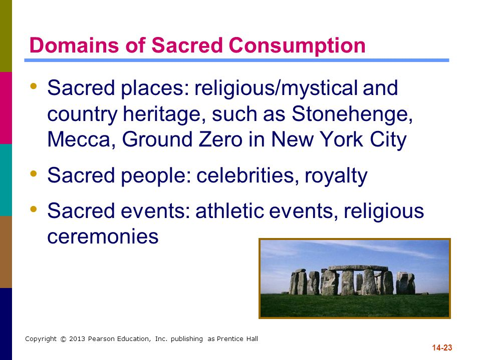 14-23 Copyright © 2013 Pearson Education, Inc. publishing as Prentice Hall Domains of Sacred Consumption Sacred places: religious/mystical and country
