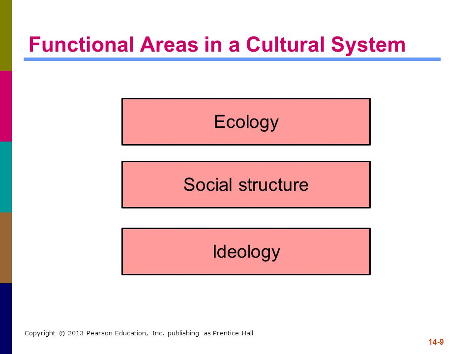 14-9 Copyright © 2013 Pearson Education, Inc. publishing as Prentice Hall Functional Areas in a Cultural System Ecology Social structure Ideology