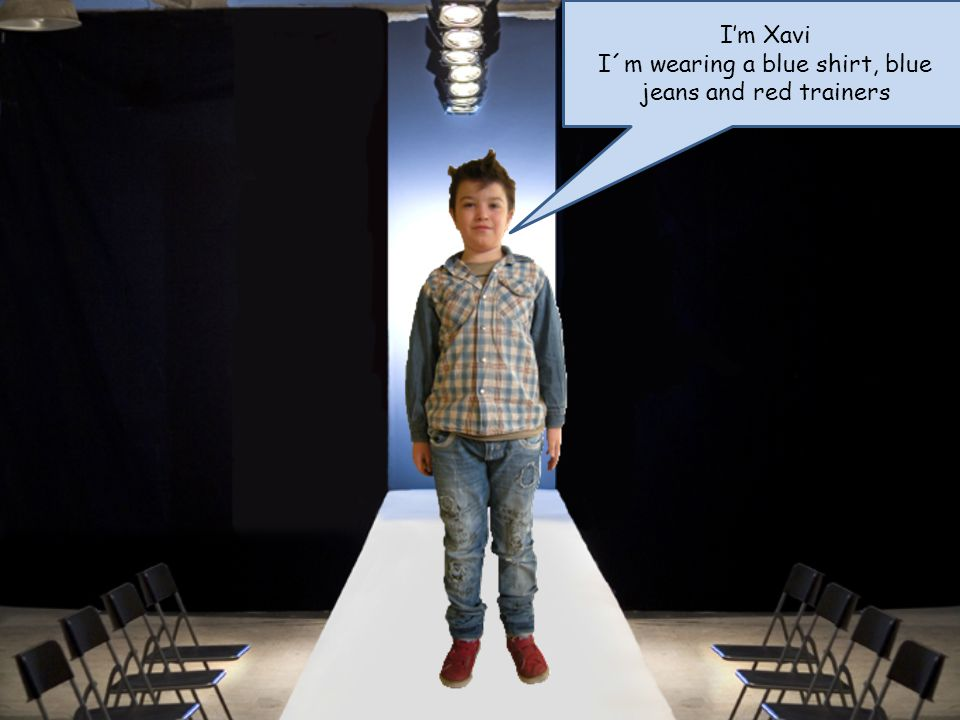 Im Xavi I´m wearing a blue shirt, blue jeans and red trainers