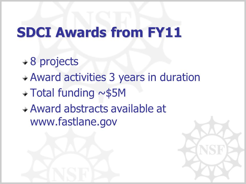 SDCI Awards from FY11 8 projects Award activities 3 years in duration Total funding ~$5M Award abstracts available at www.fastlane.gov