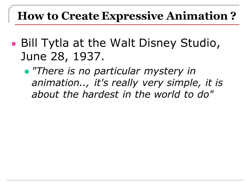 How to Create Expressive Animation .Bill Tytla at the Walt Disney Studio, June 28, 1937.