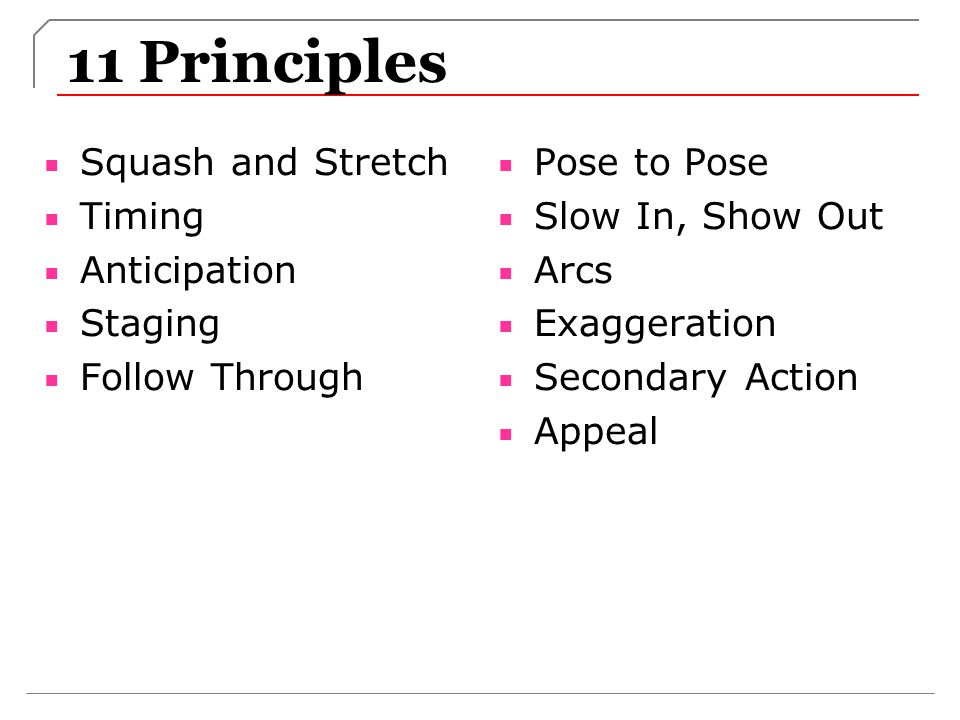 11 Principles Squash and Stretch Timing Anticipation Staging Follow Through Pose to Pose Slow In, Show Out Arcs Exaggeration Secondary Action Appeal