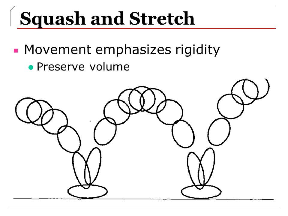 Squash and Stretch Movement emphasizes rigidity Preserve volume