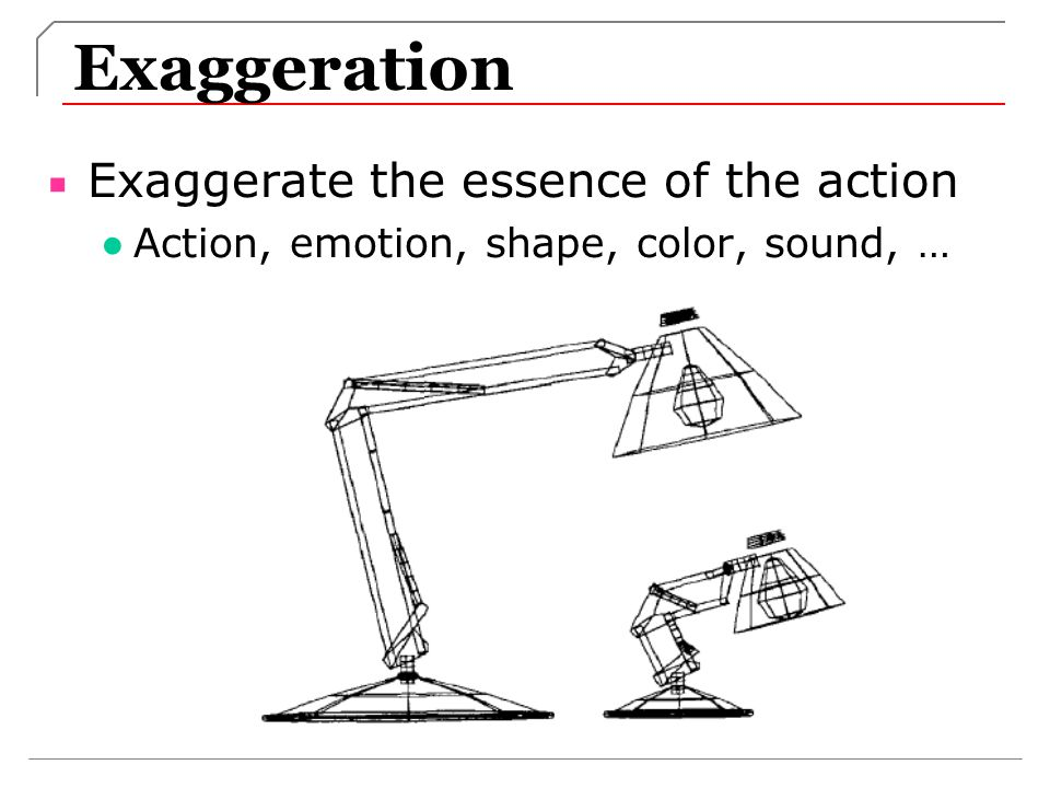Exaggeration Exaggerate the essence of the action Action, emotion, shape, color, sound, …