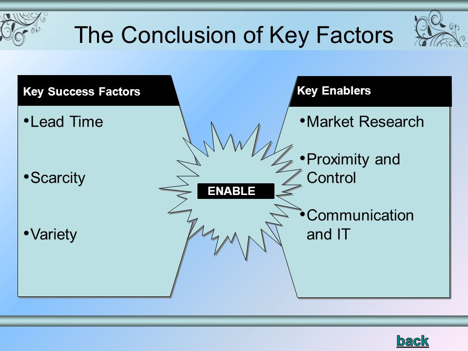 The Conclusion of Key Factors Key Success Factors Lead Time Scarcity Variety Market Research Proximity and Control Communication and IT ENABLE Key Enablers