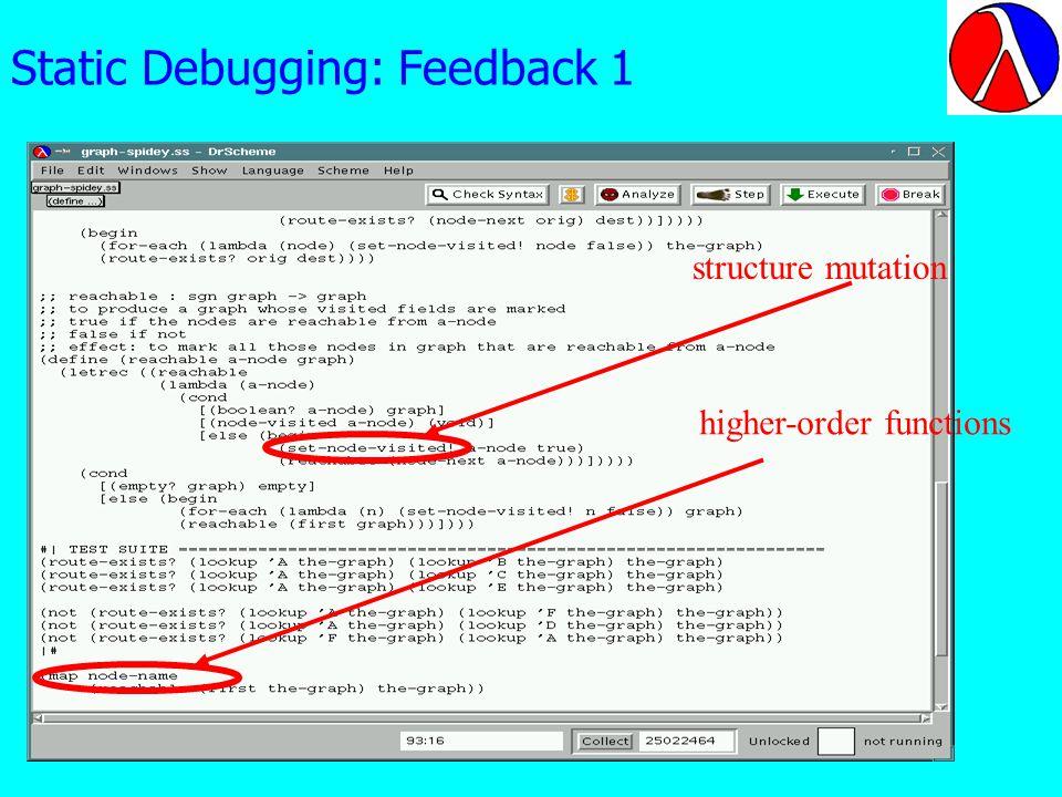Static Debugging: Feedback 1 structure mutation higher-order functions