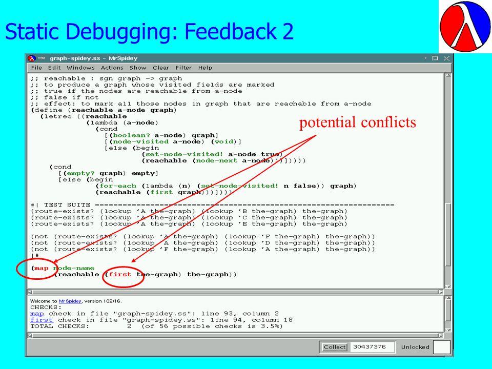Static Debugging: Feedback 2 potential conflicts