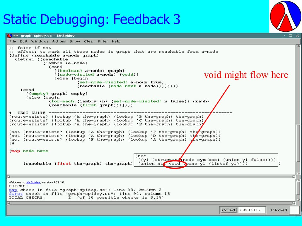 Static Debugging: Feedback 3 void might flow here