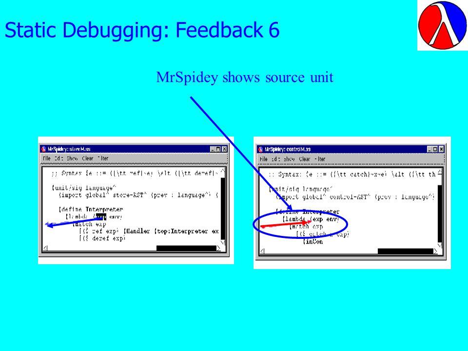 Static Debugging: Feedback 6 MrSpidey shows source unit