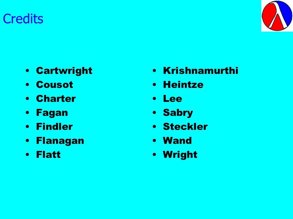 Credits Cartwright Cousot Charter Fagan Findler Flanagan Flatt Krishnamurthi Heintze Lee Sabry Steckler Wand Wright