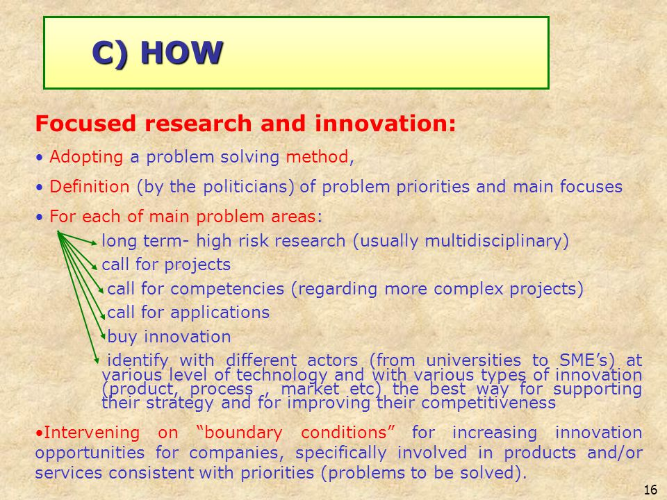 16 C) HOW Focused research and innovation: Adopting a problem solving method, Definition (by the politicians) of problem priorities and main focuses F