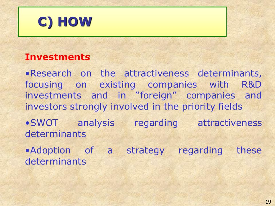 19 Investments Research on the attractiveness determinants, focusing on existing companies with R&D investments and in foreign companies and investors