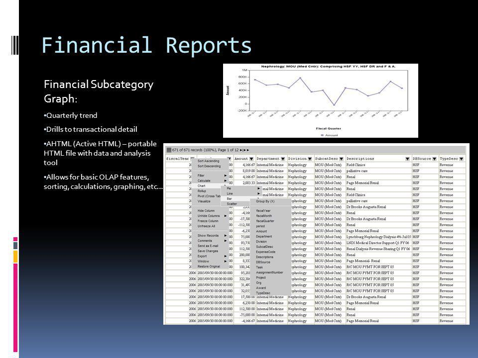 Financial Reports Financial Subcategory Graph: Quarterly trend Drills to transactional detail AHTML (Active HTML) – portable HTML file with data and analysis tool Allows for basic OLAP features, sorting, calculations, graphing, etc…