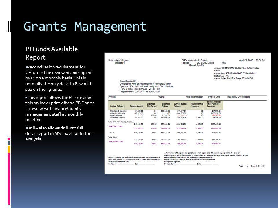 Grants Management PI Funds Available Report: Reconciliation requirement for UVa, must be reviewed and signed by PI on a monthly basis.