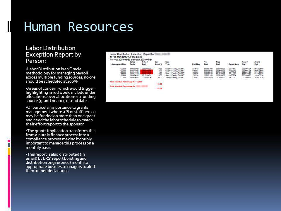 Human Resources Labor Distribution Exception Report by Person: Labor Distribution is an Oracle methodology for managing payroll across multiple funding sources, no one should be scheduled at 100% Areas of concern which would trigger highlighting in red would include under allocations, over allocation or a funding source (grant) nearing its end date.