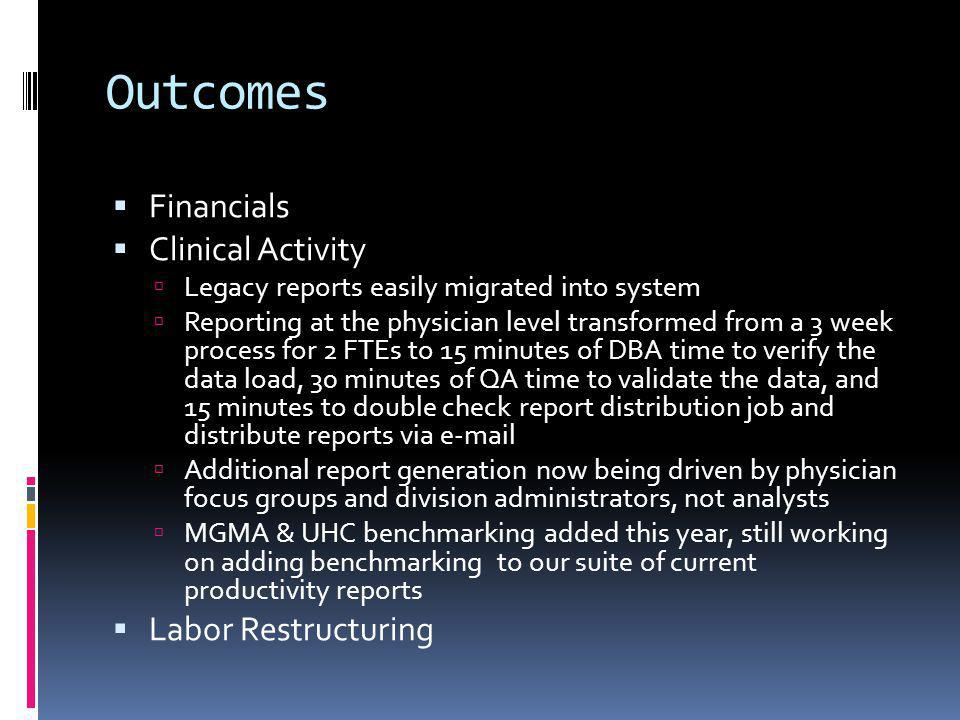 Outcomes Financials Clinical Activity Legacy reports easily migrated into system Reporting at the physician level transformed from a 3 week process fo