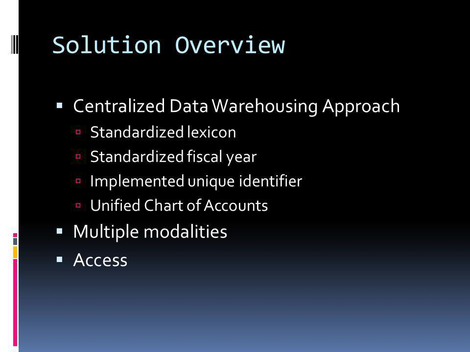 Solution Overview Centralized Data Warehousing Approach Standardized lexicon Standardized fiscal year Implemented unique identifier Unified Chart of Accounts Multiple modalities Access