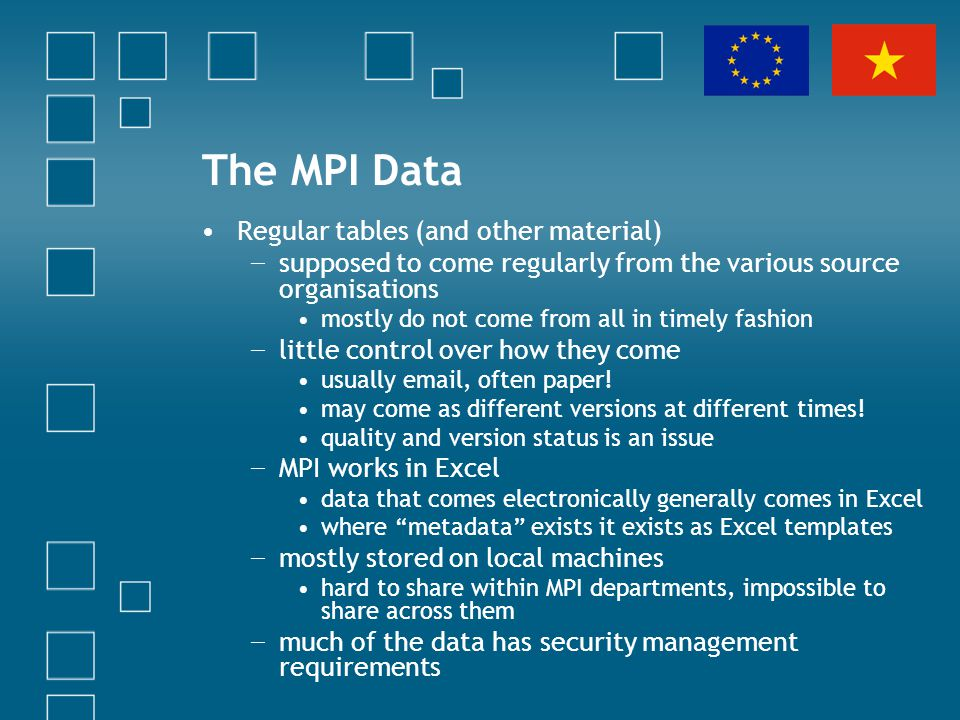 The MPI Data Regular tables (and other material) supposed to come regularly from the various source organisations mostly do not come from all in timel