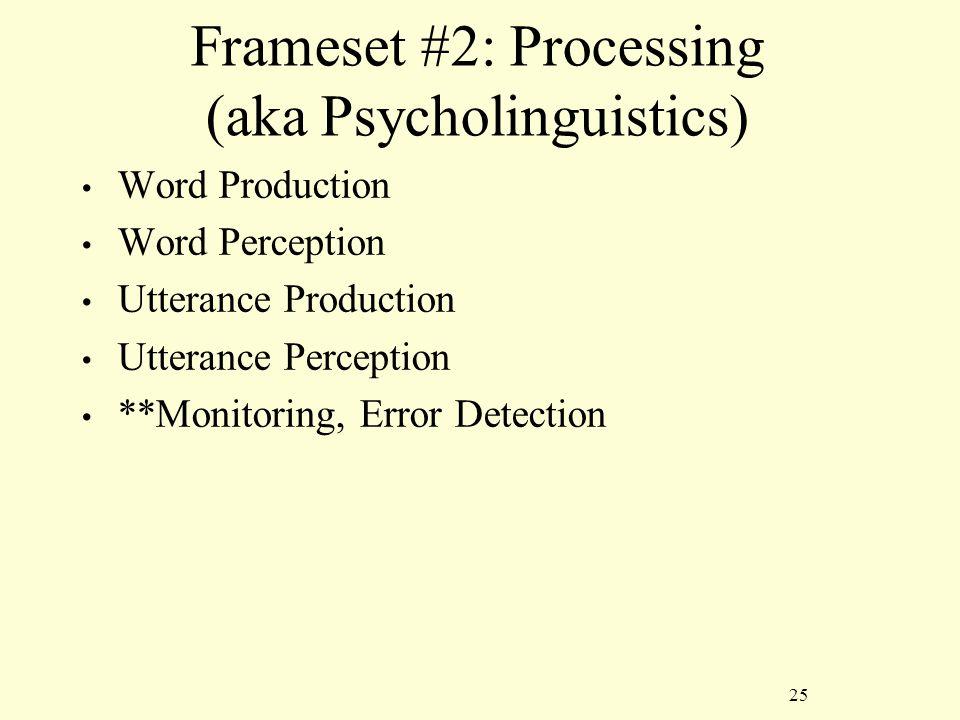 25 Frameset #2: Processing (aka Psycholinguistics) Word Production Word Perception Utterance Production Utterance Perception **Monitoring, Error Detection