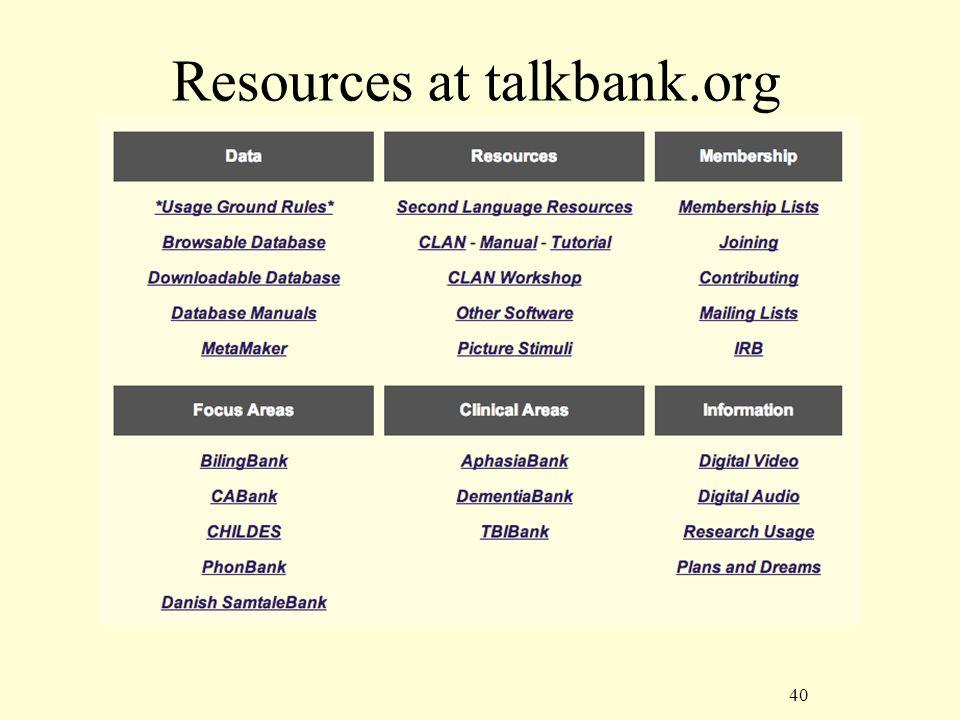 40 Resources at talkbank.org
