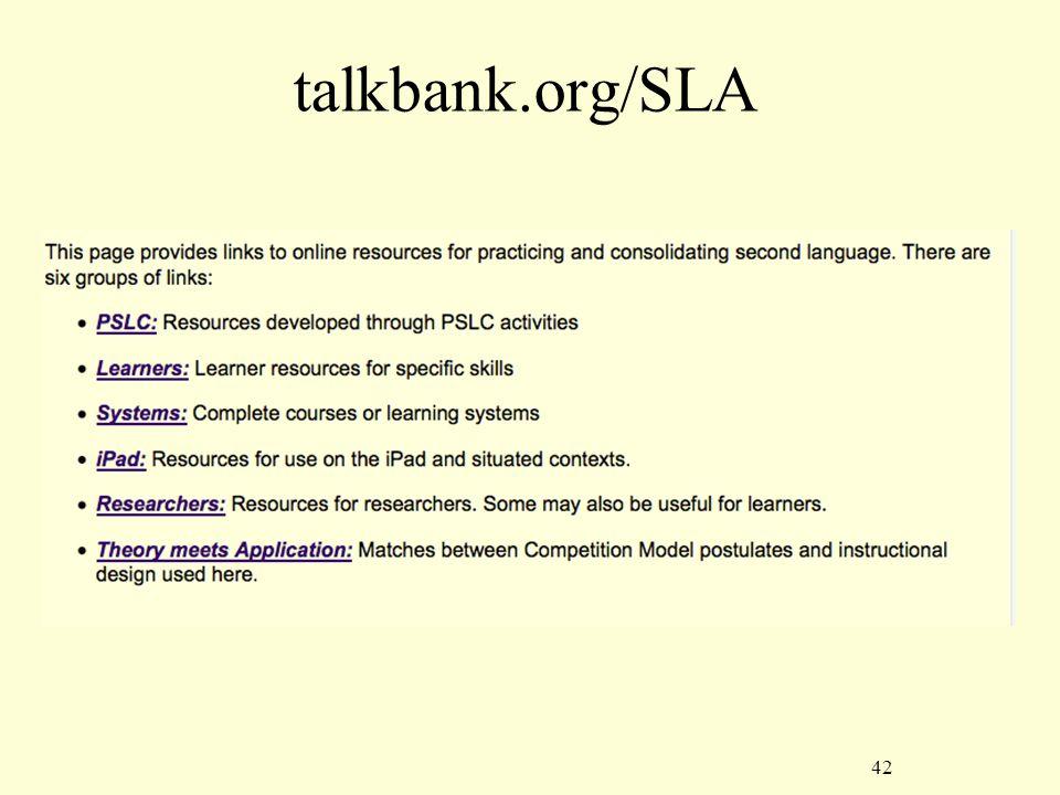 42 talkbank.org/SLA