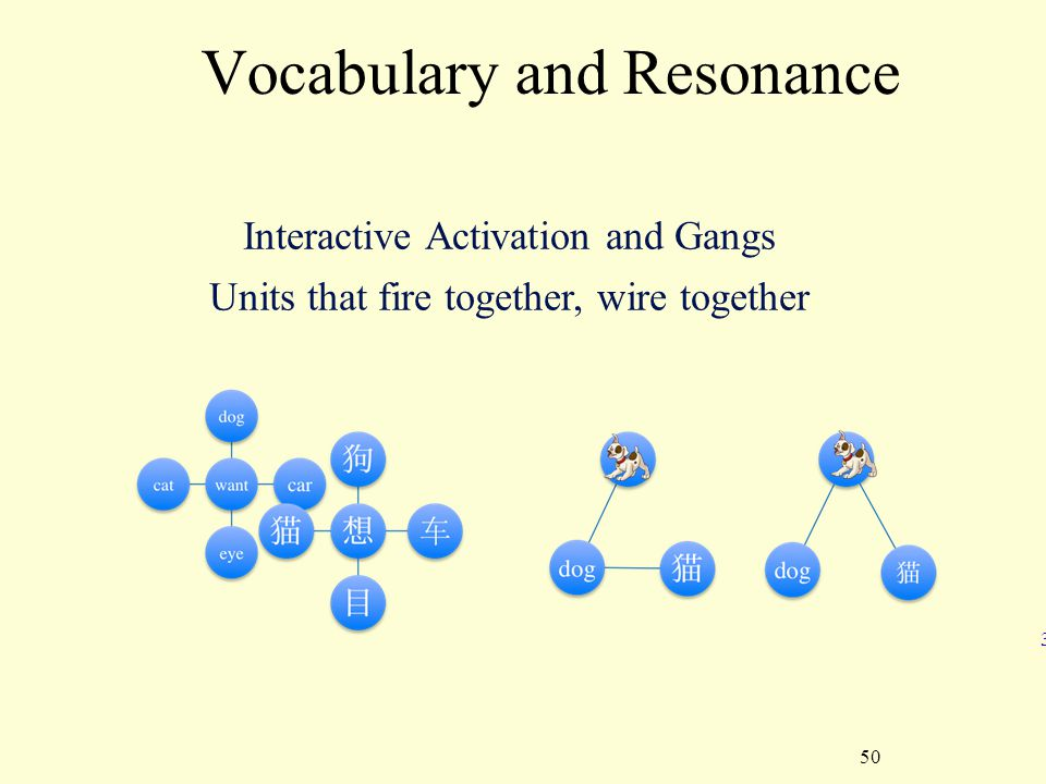 50 Vocabulary and Resonance 3 Interactive Activation and Gangs Units that fire together, wire together
