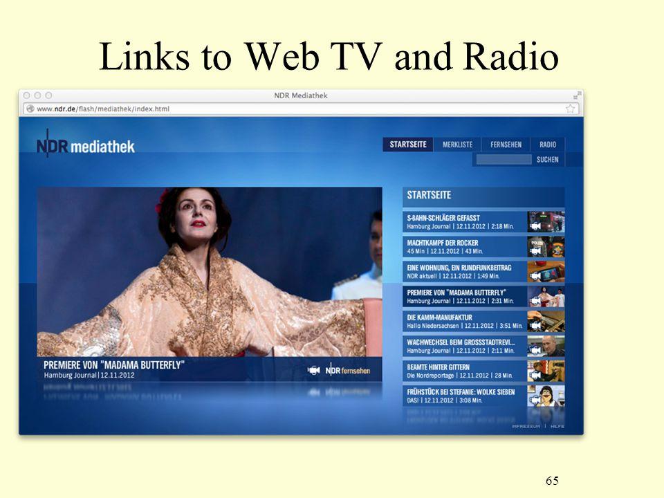 65 Links to Web TV and Radio