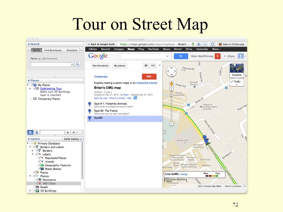 72 Tour on Street Map