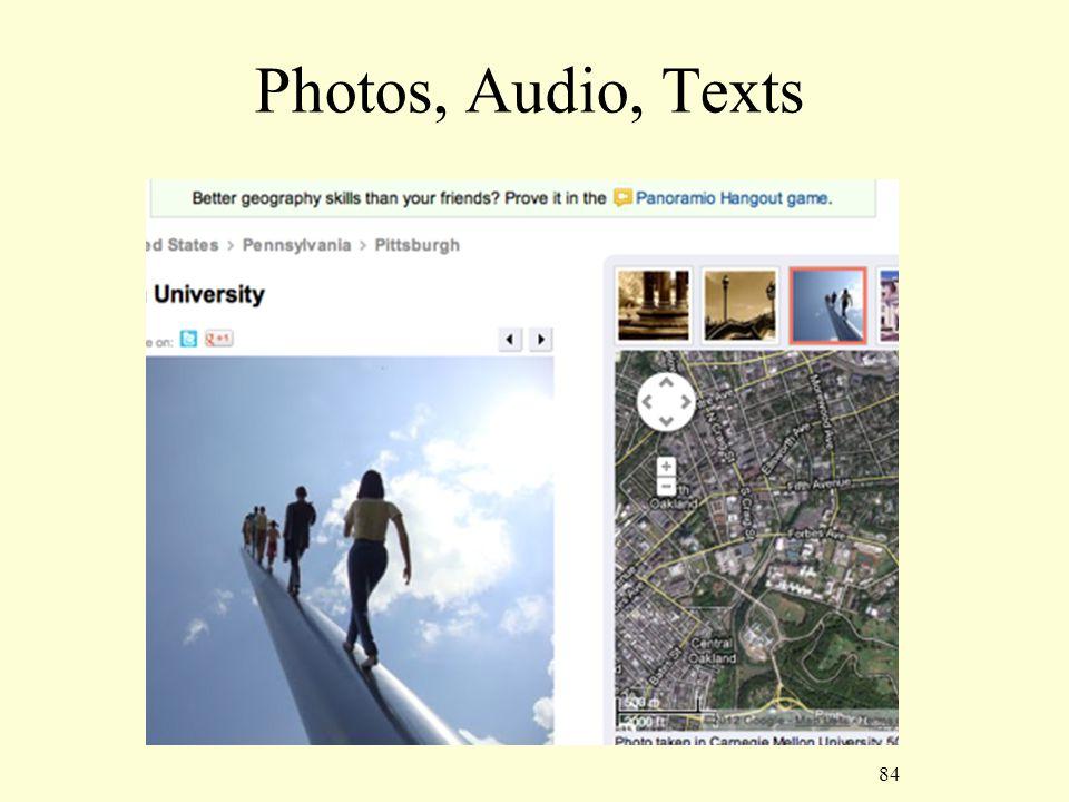84 Photos, Audio, Texts