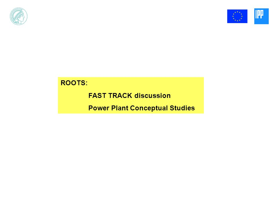 ROOTS: FAST TRACK discussion Power Plant Conceptual Studies