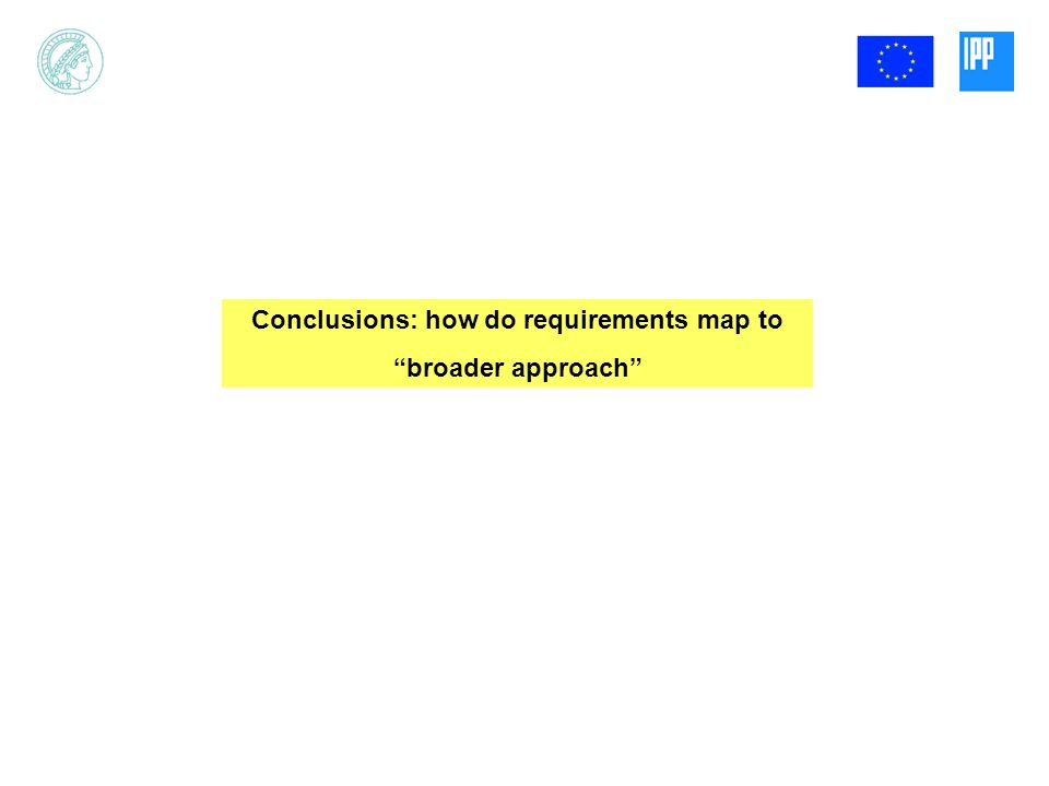 Conclusions: how do requirements map to broader approach
