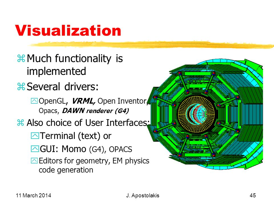 11 March 2014 J. Apostolakis 45 Visualization zMuch functionality is implemented zSeveral drivers: yOpenGL, VRML, Open Inventor, Opacs, DAWN renderer