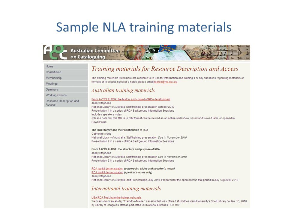 Sample NLA training materials