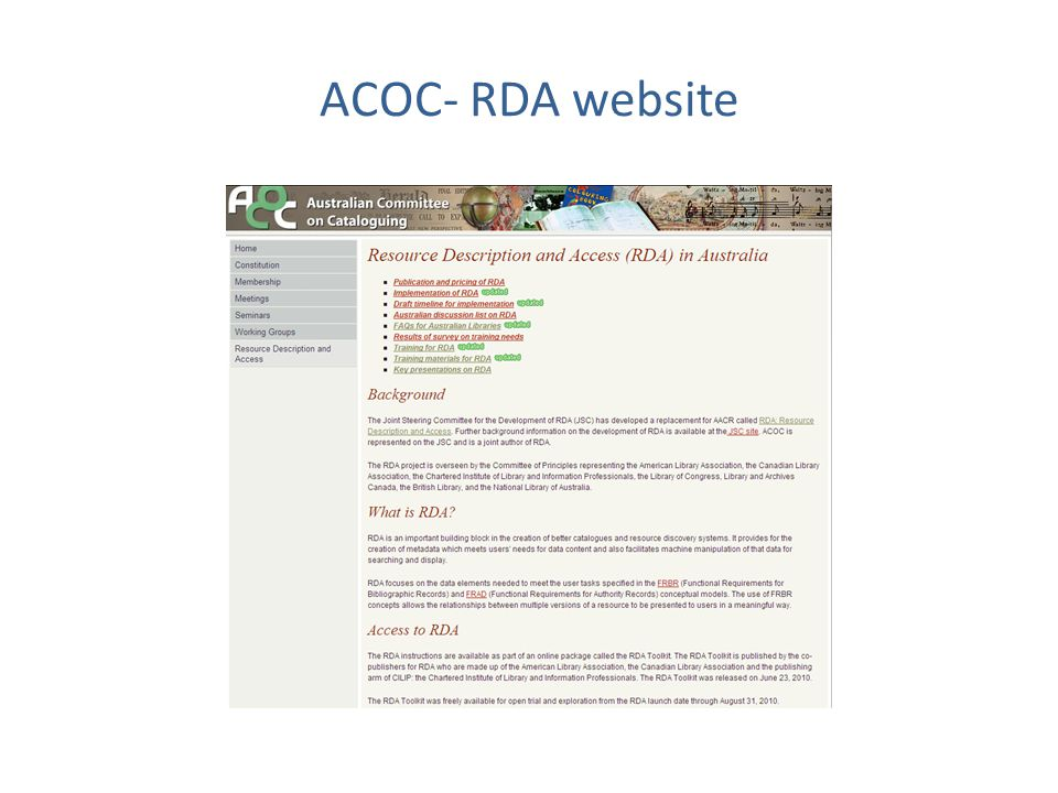 ACOC- RDA website