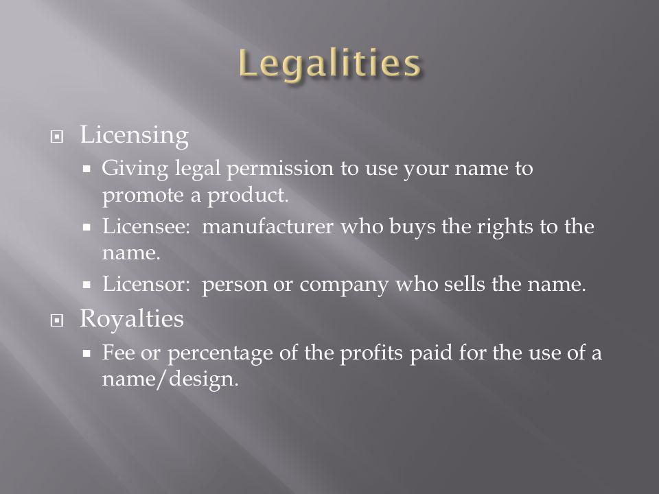 Licensing Giving legal permission to use your name to promote a product.